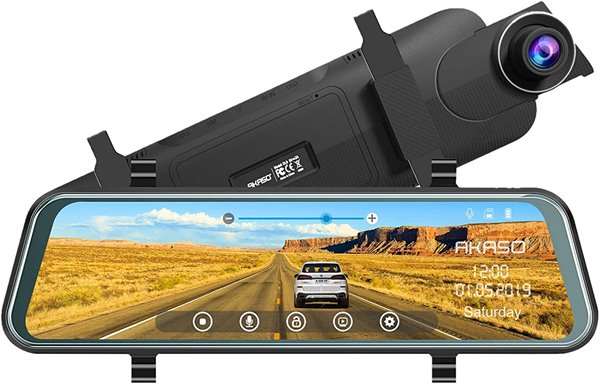 AKASO Mirror Dash Camera for Cars - 10 inch Backup Camera 1080P Dual Dash Cam Front and Rear Stream Media Touch Screen