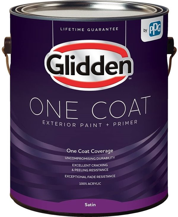 Glidden Exterior Paint with Primer Gray or Whirlwind, One Coat, Satin, 1-Gallon