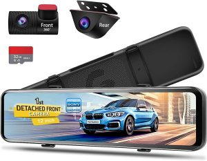 PORMIDO 12 inch Mirror Dash Cam with Detached Front Camera,Anti Glare Touch Screen Full HD 1920P,Car Rear View Backup Camera Dual Lens Sony,Super Night Vision,Parking Monitoring