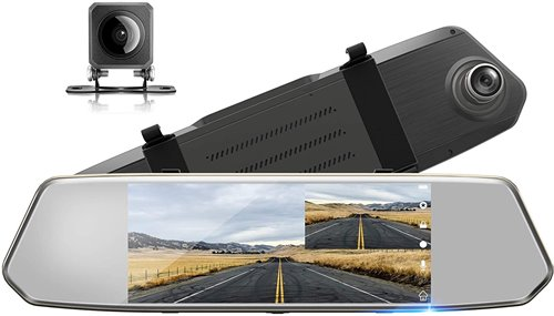 TOGUARD Backup Camera for Cars 7 inch Mirror Dash Cam Touch Screen