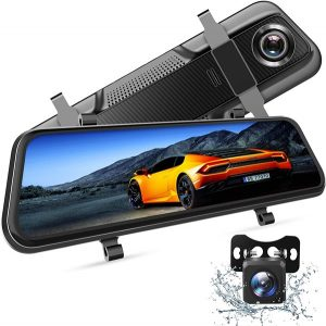 VanTop H609 Dual 1080P Mirror Dash Cam with 10 inch IPS Full Touch Screen Waterproof Backup Rear View Camera, Night Vision, Parking Monitor, Loop Recording